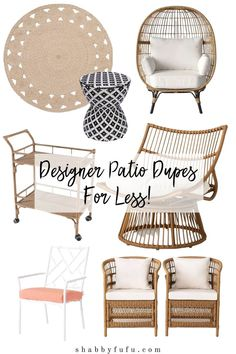 Get the designer look for less on your patio by carefully curating some key items. See this shopping guide for some great designer dupes for outdoor living! #designerpatioideas #shoppatiodecor #patiofurniture #serenaandlily #serenaandlilydupes #opalhouse #sff225 #summerpatioideas #patiodecor
