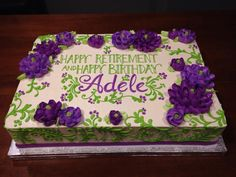 retirement cake - white flower cake shoppe