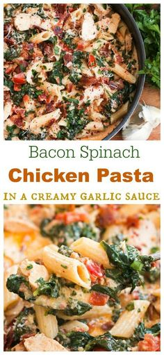 This loaded chicken bacon spinach pasta dish is tossed in a thick and creamy garlic Parmesan sauce. It's a perfect blend of flavors will make you think you're eating at a restaurant! #pasta #spinach #bacon #chicken #dinner #garlicsauce #parmesan #comfortfood