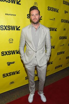 Armie Hammer wearing Burberry tailoring to the premiere of Free Fire at the South by Southwest Festival in Austin, Texas