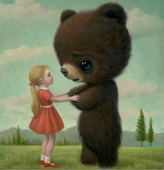 """""""goodbye bear"""" by mark ryden. I love this one...his other stuff is pure genius or just weird. : )"""