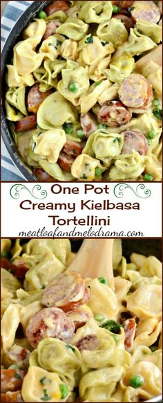 One Pot Creamy Kielbasa Tortellini in a light cheddar cheese sauce -- a quick and easy dinner that takes less than 30 minutes to make! #onepotmeals #easydinnerrecipes #quickandeasydinner