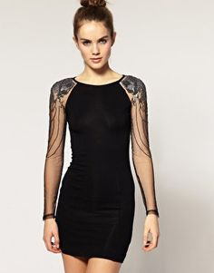 Warehouse | Warehouse Embellished Mesh Sleeve Dress at ASOS