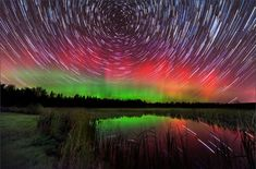 """Star trails and aurora. Stunning. (Image Credit: Mike Taylor) Mona Evans, """"Star-gazing - Seeing in Dim Light"""" http://www.bellaonline.com/articles/art300152.asp"""