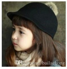 Cute Summer Girl Wool Felt Hats Childrens Vintage Jockey Ball Peak Cap Brim Beach Caps Kids Sun Hats A8 From Bailachong, $54.72 | Dhgate.Com
