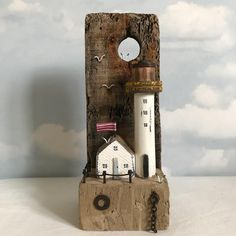 "Shabby Daisies (@lorainespick) on Instagram: ""Creel lighthouse, creel Driftwood and a vintage bobbin for a lighthouse #shabbydaisies #shabbychic…"""