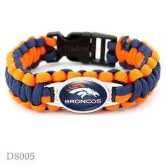 (10 PCS/lot) Denver Football Team Broncos Paracord Survival Friendship Outdoor Camping Sports Bracelet Navy Blue Orange Cord