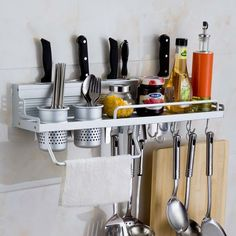 Storage Rack Kitchen Organizer –   When working with a small kitchen with little room for drawers, it's always nice to have options for storage. This organization rack is the perfect solution for your small kitchen. With a place to hang your utensils, two cups for silverware, a small shelf for spices, and a slot for knives you will no longer be longing for a messy kitchen drawer. If this wasn't enough it even has a place to dry your towel!   Go Go Kitchen Gadget…