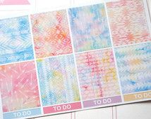 8 Watercolor Tribal Pastel Boxes Planner Stickers / Perfect for Erin Condren Life Planner