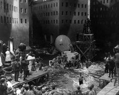 Shooting the flood scene on the set of Metropolis (directed by Fritz Lang, 1927)
