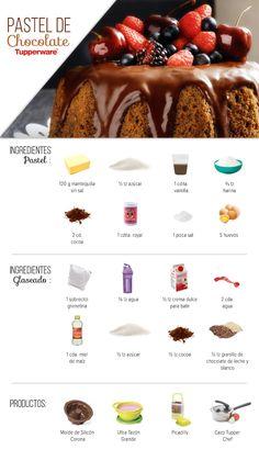 Pastel de Chocolate  Ingredientes Pastel: 120 g mantequilla sin sal a temperatura ambiente ½ tz azúcar (reservar una cucharada) 1 cdita. vainilla ⅔ tz harina 2 cd. cocoa 1 cdita. royal 1 pizca sal 5 huevos (separar claras y yemas) Ingredientes Glaseado: 1 sobrecito grenetina ⅛ tz agua ½ tz crema dulce para batir 2 cda. agua 1 cda. miel de maíz ½ tz azúcar ½ tz cocoa ½ tz granillo de chocolate de leche y blanco Productos: Molde de Silicón Corona Ultra Tazón Grande Picadilly Cazo Tupper Chef