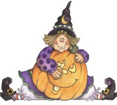 .Cute little witch with Jack-o-lantern