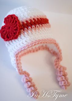 Items similar to Crochet Baby Girl Valentine Heart Earflap White Red Pink and Months Photography Prop on Etsy Bonnet Crochet, Crochet Baby Hats, Crochet Beanie, Love Crochet, Crochet For Kids, Knitted Hats, Knit Crochet, Crochet Shoes, Crochet Crafts