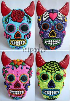 Cupookie: Sugar Skull cookies with horns