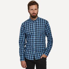 Denver Gingham Shirt in Periwinkle | Frank & Oak