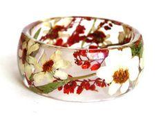 Red Flower Bracelet Rose Bangle White Flower by ModernFlowerChild