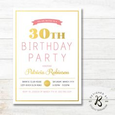 30th Birthday Invitation for Women #studioBaraBom #BaraBom_Invitation