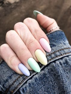 latest acrylic nail designs for summer 2019 page 53 - rainbow-nails - Uñas Summer Acrylic Nails, Best Acrylic Nails, Summer Nails, Spring Nails, Acrylic Nails Pastel, Acrylic Nail Designs For Summer, Pastel Color Nails, Yellow Nails, Pastel Purple
