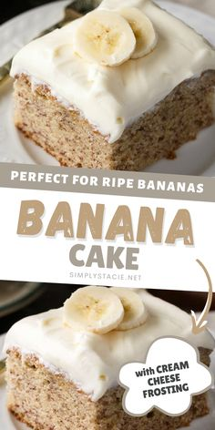 Banana Cake - The perfect cake recipe to use your ripe bananas! This luscious cake is sweet, moist and filled with delicious banana flavor. Topped with a decadent cream cheese frosting to make the ultimate dessert! Follow me on Pinterest to discover more dessert recipes.