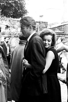 """Peter O'Toole and Romy Schneider on the set of """"What's New Pussycat?"""", 1965."""