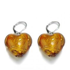 Murano syle heart shaped earrings - the perfect size to tangle with a lil flirty movement!