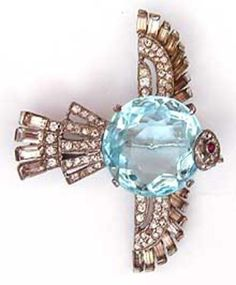 Trifari Sterling Aqua Belly Bird Brooch - Garden Party Collection Vintage Jewelry
