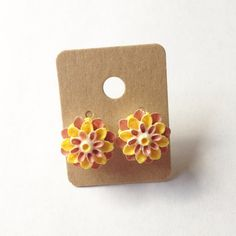 Pink & Yellow Hand-Painted Flower Stud Earrings Cutie pink and yellow flower stud earrings. Hand painted by me! Hypoallergenic bronze earrings studs and backings. Will come in a cute package, perfect for gifting! lilac & buttercup Jewelry Earrings