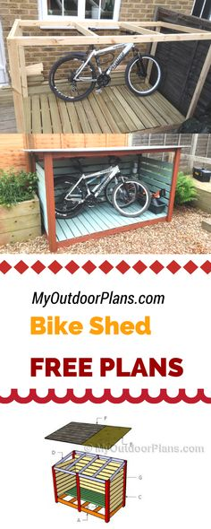 Learn how to build a bike shed using my free plans and instructions! A simple bike shed is a super easy and useful project, so you can save money and add value to  your life. myoutdoorplans.com #diy # (Diy Storage)