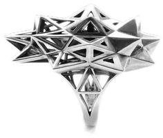 """""""Stellated Ring""""  Verahedra Series: A series of complex, interlocking geometries reminiscent of Euclidean geometries and ancient architecture from the Egyptian, Mayan and Sumerian temples   http://johnbrevard.com/stellated-ring-536"""