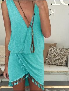 Sexy Plunging Neck Sleeveless Asymmetrical Women's DressCasual Dresses- great for the beach
