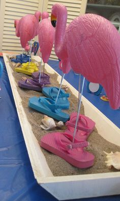 tropical summer party with flip flop flamingos