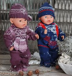 This doll knitting pattern for American Girl, Baby Born, Madame Alexander and other dolls Knitting Dolls Clothes, Crochet Doll Clothes, Doll Clothes Patterns, Clothing Patterns, Crochet Doll Dress, Crochet Hats, Baby Born Clothes, Norwegian Knitting, Barbie