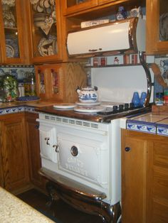This is my Elmira stove in my blue/white kitchen..I love my stove