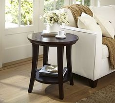 Metropolitan Round Side Table #potterybarn For the living room in espresso