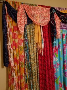 Your place to buy and sell all things handmade Scarf Curtains, Gypsy Curtains, Chair Design, Furniture Design, Design Design, Cornice Boards, Architecture Quotes, Curtain Designs, Colorful Curtains