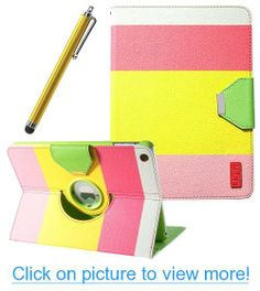 Pandamimi ULAK(TM) 360 Rotating Magnetic PU Leather stand Case Smart Cover For Apple iPad air iPad 5 With Screen protector and Touch Stylus(Red   Yellow   Pink)