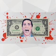 American Psycho on US one dollar bill.  Mixed media American Psycho drawing comprised of Prisma Premier pencils and markers on US dollar bill mounted to hand-cut layered illustration board.  I've been working on a couple of different projects and to alleviate some of the rote things that occur when I work on a piece for too long I like to take a detour and work on nontraditional craft type novelty mixed media assemblages which are a great way to break up the monotonous.  This is the first…