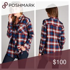 """Brick & Navy Gingham Button Down Brick and Navy Gingham Plaid Button Down Shirt. Basic Collar, Chest Pocket, and an Oversized Boyfriend Fit. 100% Cotton. Fall Staple Piece Price is Firm.  Small- B:40"""" L:31"""" Medium- B:42"""" L:32"""" Large- B:44"""" L:33""""  ✨Use the """"Buy Now"""" or """"Add to Bundle"""" Button to select your size for Purchasing✨ Tops Button Down Shirts"""