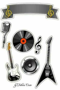 Bolo Musical, Scrapbook Paper, Scrapbooking, Rock Star Party, Pop Up Box Cards, Paper Cake, Music Images, Printable Paper, Print Pictures