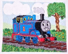 Thomas Train and Friends Tank Engine Cross Stitch, Needlework Finished Design, Unframed Children's Boys Wall Decor Sale Price by EverydayWomenJewelry on Etsy https://www.etsy.com/listing/225969701/thomas-train-and-friends-tank-engine