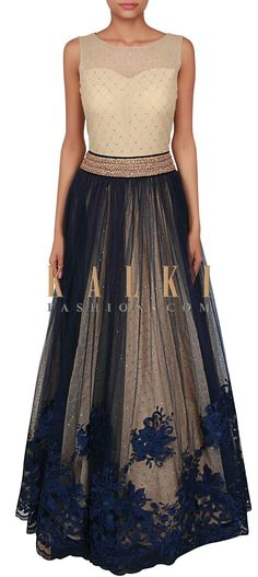 Cream and navy blue gown adorn in resham and kundan embroidery only on Kalki Indian Gowns, Indian Attire, Pakistani Dresses, Indian Wear, Indian Outfits, India Fashion, Asian Fashion, Navy Blue Gown, Indie Mode