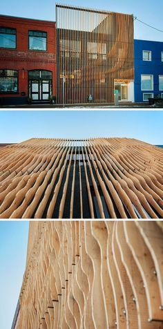 This Building Is Covered In Fins Made From 100 Year Old Reclaimed Wood Using 100 year old fir reclaimed from an abandoned grain storehouse in Alberta, design firm MODA created a screen of 'fins' over top of the concrete exterior of this building. Building Facade, Building Design, Building Ideas, Building Exterior, Facade Design, Exterior Design, Screen Design, House Design, Villa Architecture