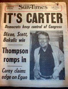 "Chicago Tribune: George HW ""Bush is elected president"" November 1988 Times Newspaper, Vintage Newspaper, Newspaper Headlines, Newspaper Article, American Presidents, American History, Front Page News, Chicago Sun Times, Jimmy Carter"