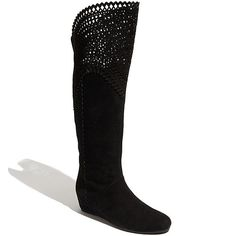 """Isola """"Toscana"""" Perforated Suede Boots in Black"""