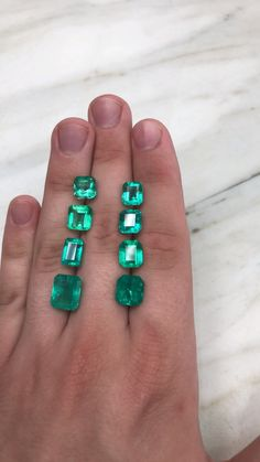 Natural Colombian emeralds, weights ranging from Varying hues of green colors and desirable sizes. These stones are waiting to be mounted in gold or platinum. We ship worldwide so feel free to DM us to purchase mounted 💚 Emerald Gemstone, Emerald Jewelry, Gemstone Jewelry, Emerald Cut, Jewelry Art, Antique Jewelry, Jewellery, Loose Emeralds, Modern Engagement Rings