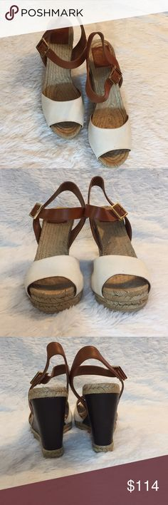 """Tory Burch Raffia Wedge Sandals Authentic  Tory Burch 4"""" Wedge  Size 11 Originally $228 Great condition  Brown, Gold buckles, tan, cream  **CC 0000 Tory Burch Shoes Wedges"""
