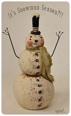 Primitive papier mache snowman reproduction, originally designed by folk artist Johanna Parker for Primitives by Kathy