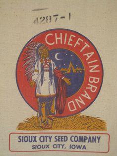 Vintage Grain Sack Sioux City Iowa Feed Sack by PiecesOfOlde