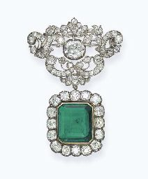 AN ANTIQUE EMERALD AND DIAMOND PENDANT  The rectangular-shaped emerald within an old-cut diamond cluster surround to the diamond scroll top suspending an oval-shaped diamond collet, mounted in silver and gold later rhodium plated, pendant circa 1880