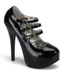 Bordello 3 Strap Black Stiletto Platforms   Pin Up Retro Shoes